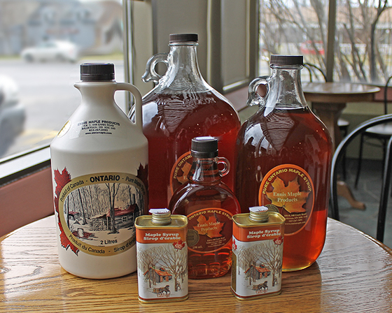 Final product Ennis Maple syrup from Bennet lake in Balderson Ontario