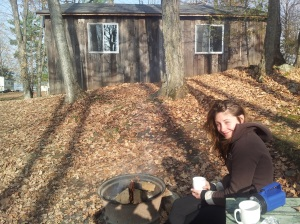Enjoying morning coffeee by the fire