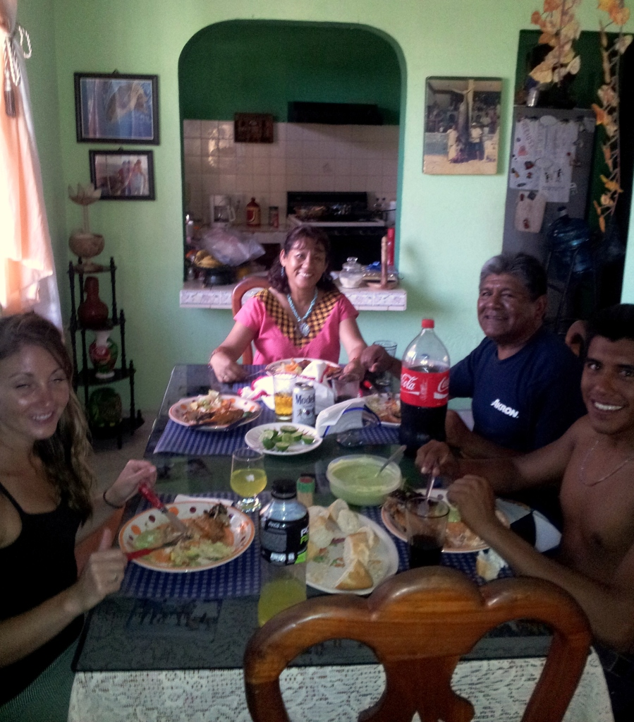 A delicious meal of fresh fish with a Gume, Flores and Syndel family