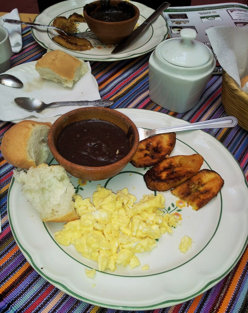 eggs, beans, fried bananas and coffee to start off the day right