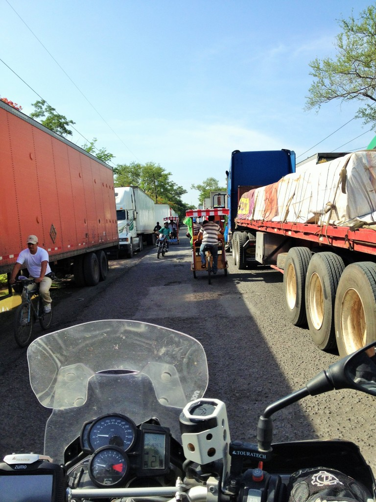 trucks were lined up for miles at the border