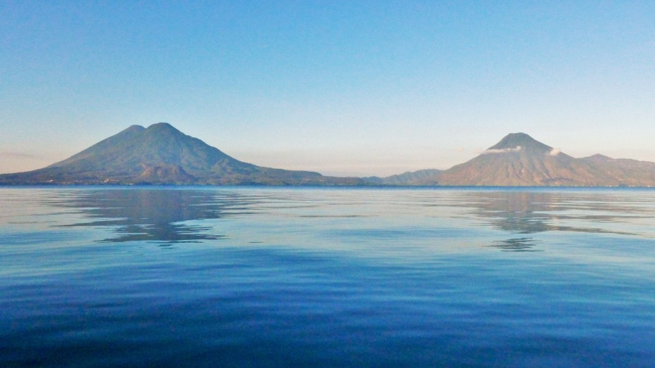 volcanoes along the lakes shorelines