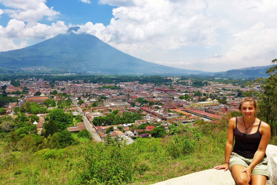 view of Antigua and volcano Agua in the background.
