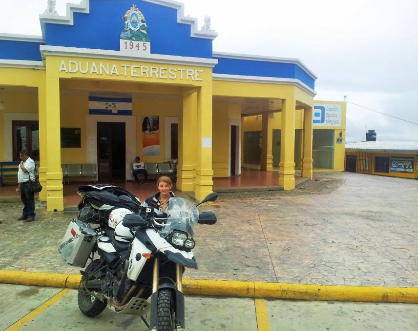 Exiting Honduras immigration building