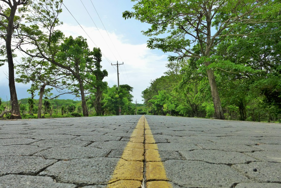 half of the roads on the island and throughout Nicaragua are all layed stone like this