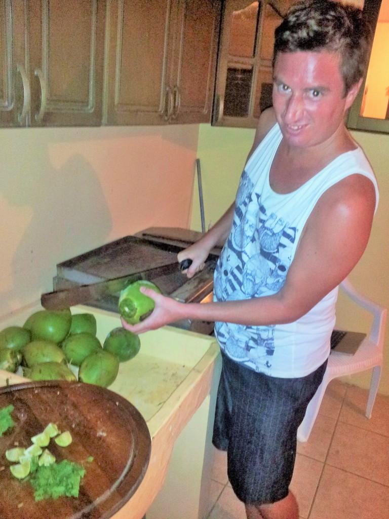 Regan hacking up some cocos for locos