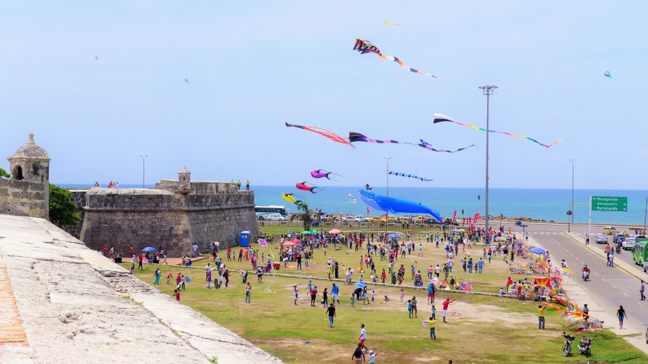 kite flying outside the city walls