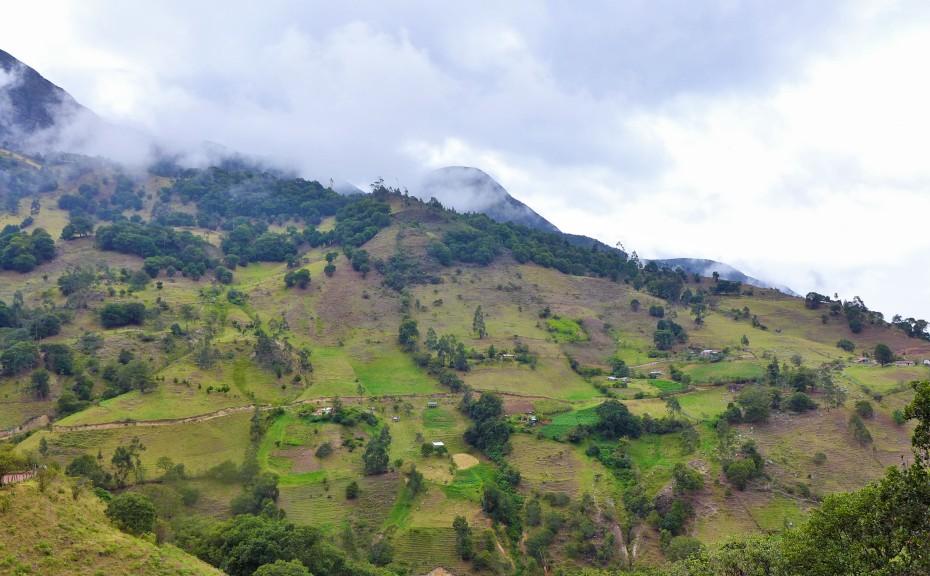 farm land set amongst the mountainside