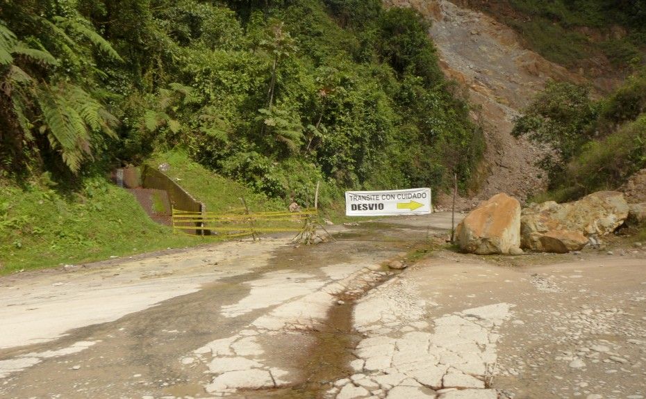 large landslide had closed this section of the road causing us to detour