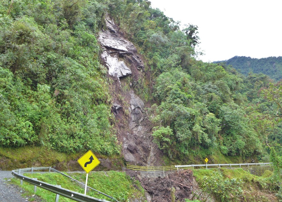 landslides punish the roads up here