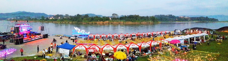weekend party was happening along the Mekong in Chiang Khong.