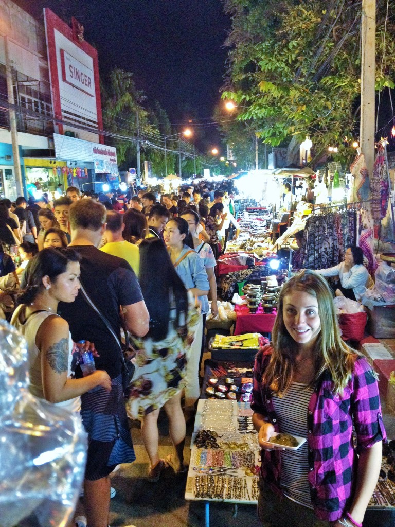 crazy busy sunday night market in downtown Chiang Mai