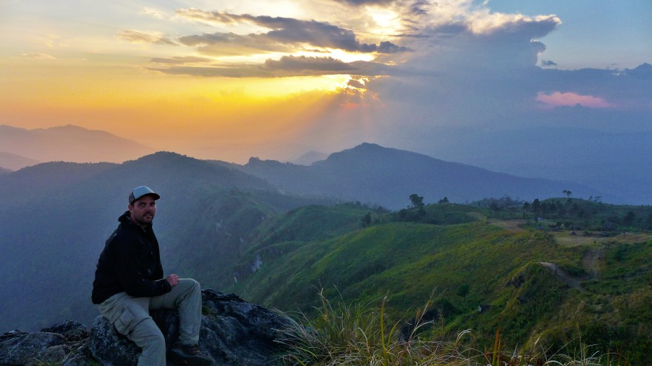 sun setting over Laos and Thailand