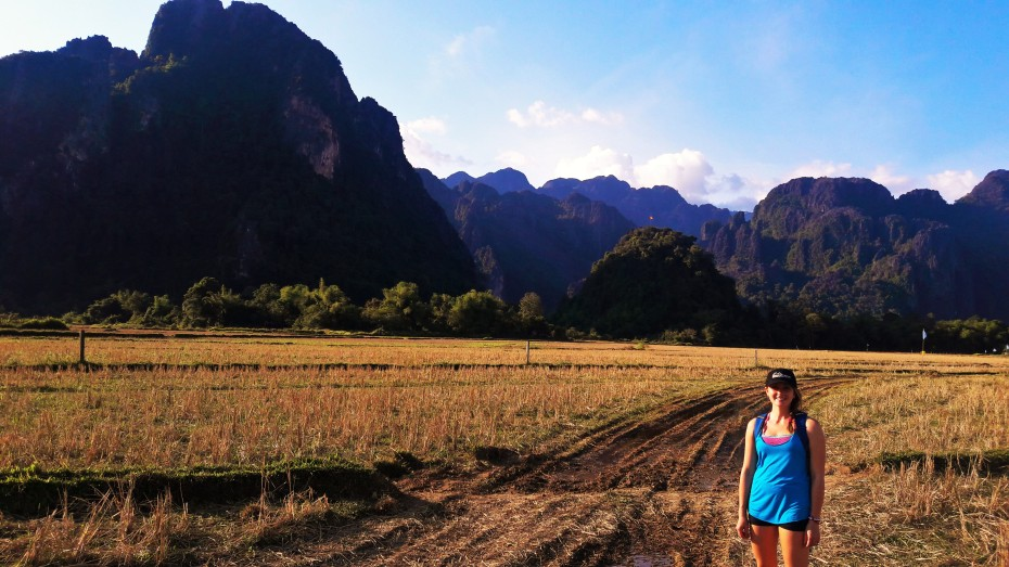 Rice paddies around Vang Vieng waiting for the fall rains to arrive