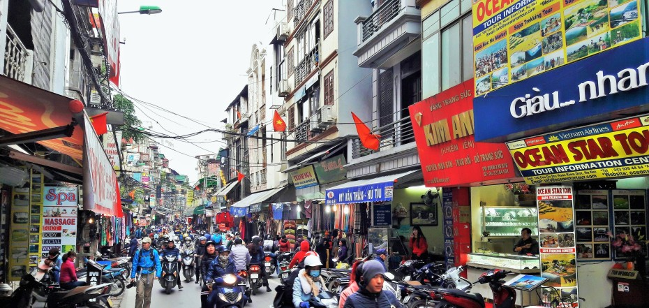 more busy streets...tourist district Hanoi